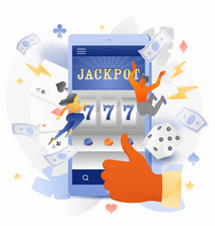 casino app with tiny people characters vector image