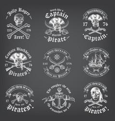 Chalkboard death pirate logos vector