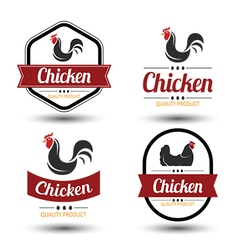 chicken label 2 vector image