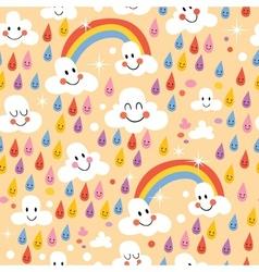 Clouds rainbows rain drops seamless pattern vector