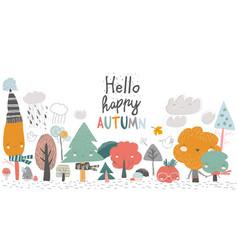 colorful autumn trees cartoon yellow orange vector image