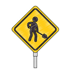 construction traffic signal with worker vector image