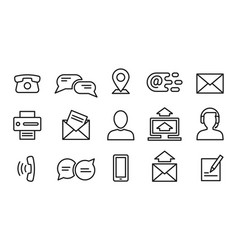 contact line icons minimal business internet vector image