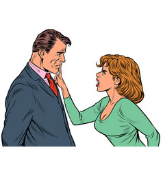 couple quarreling woman and man husband and wife vector image