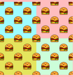 cute cartoon burgers seamless pattern on color vector image vector image