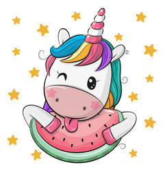 Cute cartoon unicorn with watermelon vector