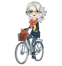 Cute girl rides a bicycle vector