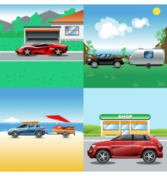 Digital red blue red and black auto car vector image