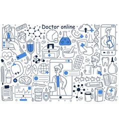 doctor online doodle set vector image