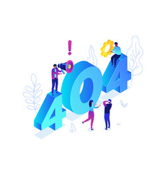 error 404 page - modern colorful isometric vector image