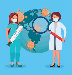 Female doctors with covid19 vaccination search vector