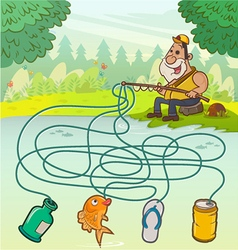 Fisherman Maze Game vector image