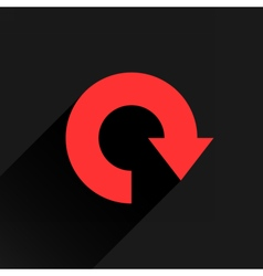 Flat red arrow icon refresh reset repeat sign vector