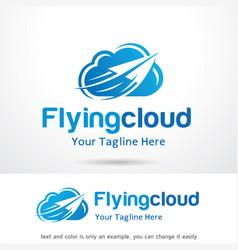 flying cloud logo template design emblem design vector image