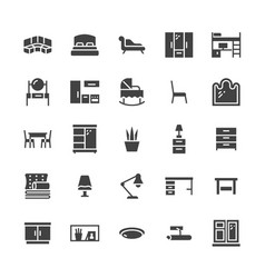 Furniture flat glyph icons living room vector