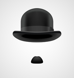 gentleman with small moustaches and bowler hat vector image