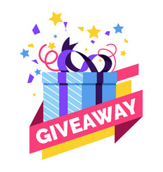 Gift box giveaway isolated icon social media vector