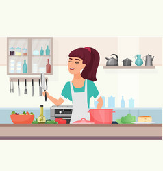 Girl cooking food cartoon young woman in apron vector