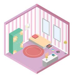 girl kid room isometric vector image
