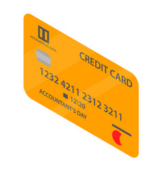 golden credit card icon isometric style vector image