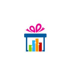Graph gift logo icon design vector