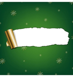 Green paper torn with snowflakes vector