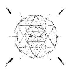 Hand drawing occult pentagram with latin vector