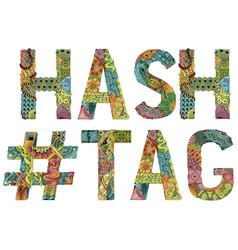 Hand drawn zentangle hashtag vector