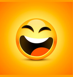 happy emoji face object on orange vector image