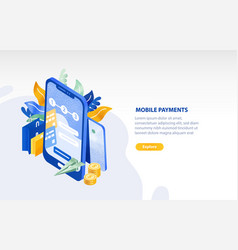 horizontal web banner template with smartphone vector image