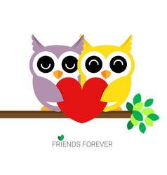 Hugging owls postcard vector