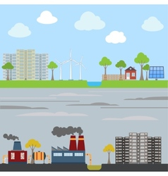 Industrial and eco city concept vector image