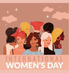 International women day young ladies different vector