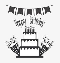 line cake with hat birthday celebration vector image