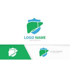 liver and shield logo combination security organ vector image