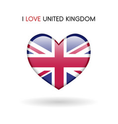 love united kingdom symbol flag heart glossy icon vector image