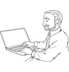 Man using laptop vector