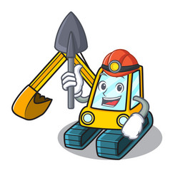 Miner excavator mascot cartoon style vector