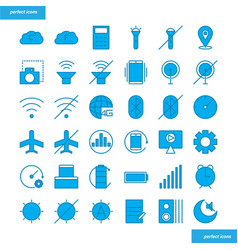 Mobile function blue icons set style vector