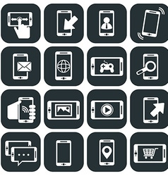 Mobile phone usage and apps icons set vector image