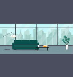Modern empty living room with panoramic window vector