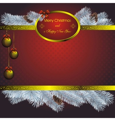 new year card with blue fir and golden christmas l vector image