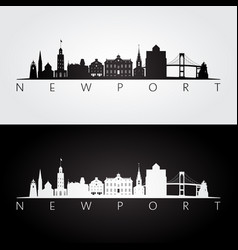 newport usa skyline and landmarks silhouette vector image