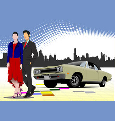 old car with young couple vector image