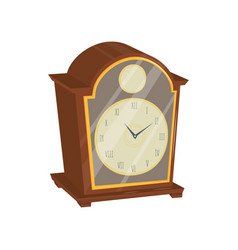 old clock with wooden case glass door and golden vector image