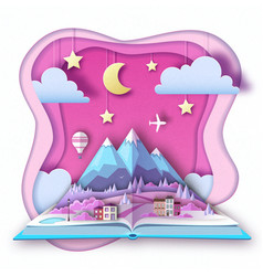 open fairy tale book with countryside mountains vector image