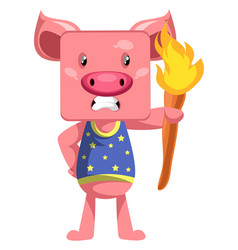 Pig with torch on white background vector