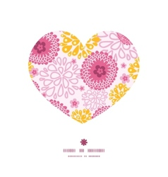 Pink field flowers heart silhouette pattern frame vector