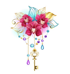 Pink orchid with key vector