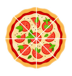 pizza margarita cut into pieces flat icon isolated vector image